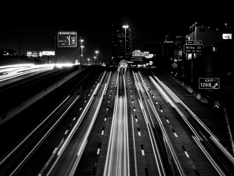 Black and White Light Trails Houston Texas Freeway imagem de stock royalty free