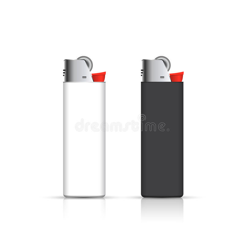 Black and white lighters on white. Vector for corporate identity. Advertising template.  royalty free illustration