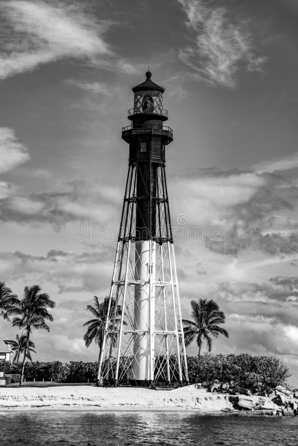 Black and White Lighthouse in Fort Lauderdale, Florida, USA stock images