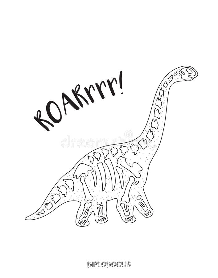 Black And White Line Art With Dinosaur Skeleton Stock Vector ...