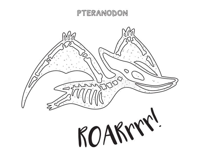 Black And White Line Art With Dinosaur Skeleton Stock Vector ...