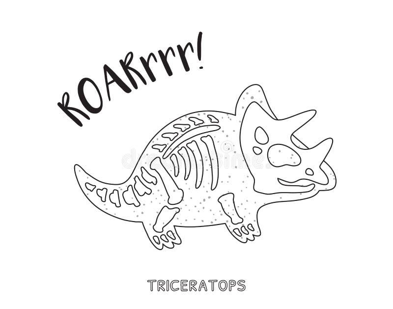 Black And White Line Art With Dinosaur Skeleton Stock