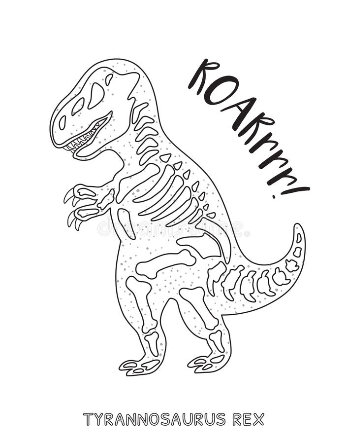Black and white line art with dinosaur skeleton stock for Dinosaur outline coloring pages