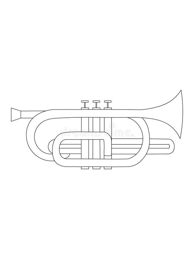Black and white line art drawing of  Cornet illustration. Simple black and white line drawing of outline Cornet musical instrument contour vector illustration