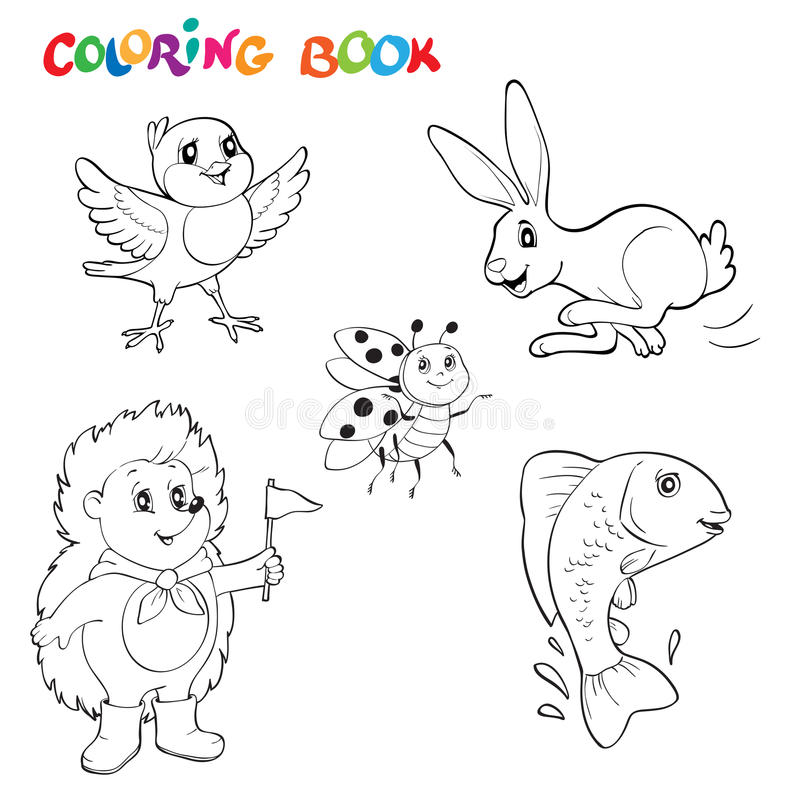 Black and white line art drawings animals collection, you can use like coloring book for adults. Coloring book or page royalty free illustration