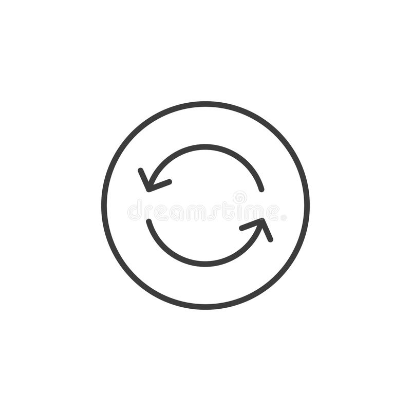 Line art icon of update arrows in the round frame. Black and white line art icon of update arrows in the round frame vector illustration