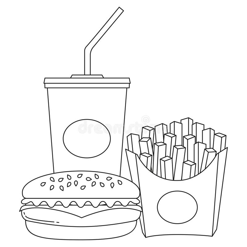 Black and white line art poster fast food soda burger fries royalty free illustration