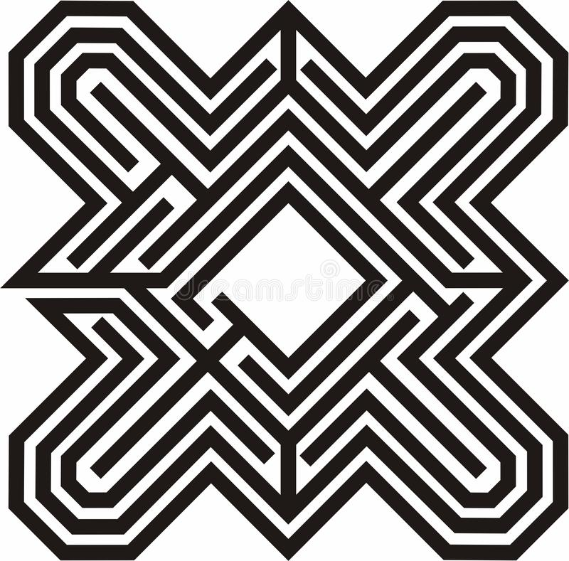 Black & white line drawing of a Labyrinth stock photo
