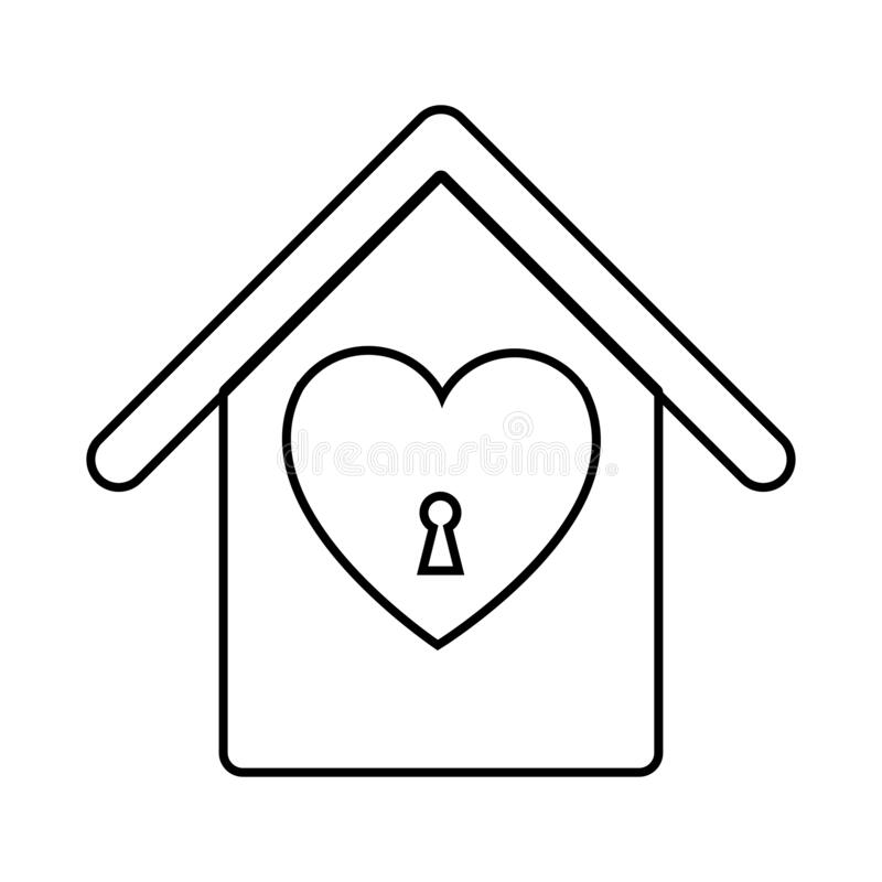 Black and white linear simple icon beautiful house with a birdhouse with a heart and a keyhole for the feast of love Valentine`s vector illustration