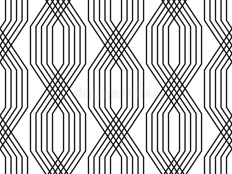 Black and white lines geometric art deco style simple seamless pattern, vector vector illustration