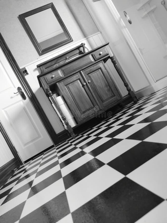 Black and White Lino Linoleum in Bathroom stock photography