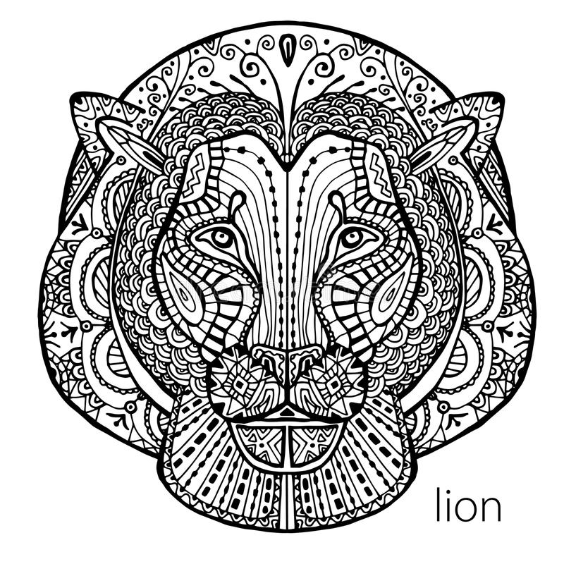 Download The Black And White Lion Print With Ethnic Patterns Coloring Book For Adults Antistress