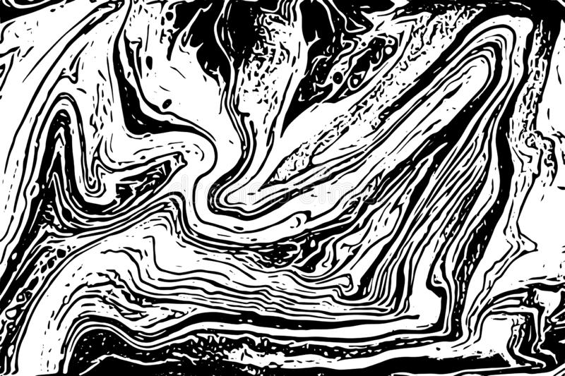 Black and white liquid texture. Marbling trace illustration. Abstract vector background. Monochrome marble pattern. Black and white liquid texture. Marbling vector illustration