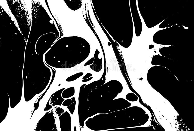 Black and white liquid texture. Watercolor hand drawn marbling illustration. Abstract vector background. Monochrome. Marble pattern vector illustration