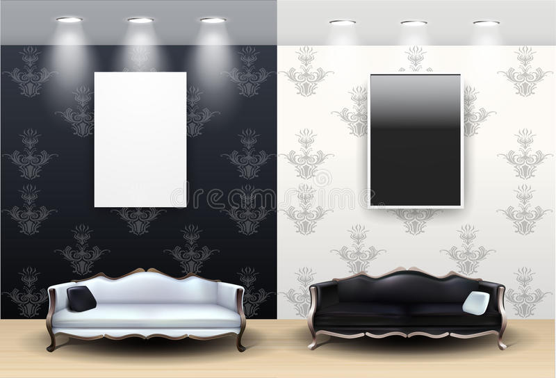 Black And White Living Room Royalty Free Stock Images