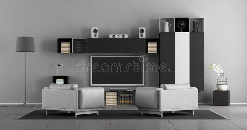 Black and white living room with tv set. Living room with leather armchair and wall unit with tv set - 3d rendering royalty free illustration