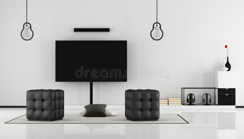 Black and white living room with tv set. Minimalist black and white lounge with tv set, sideboard and hassock-3D Rendering royalty free illustration
