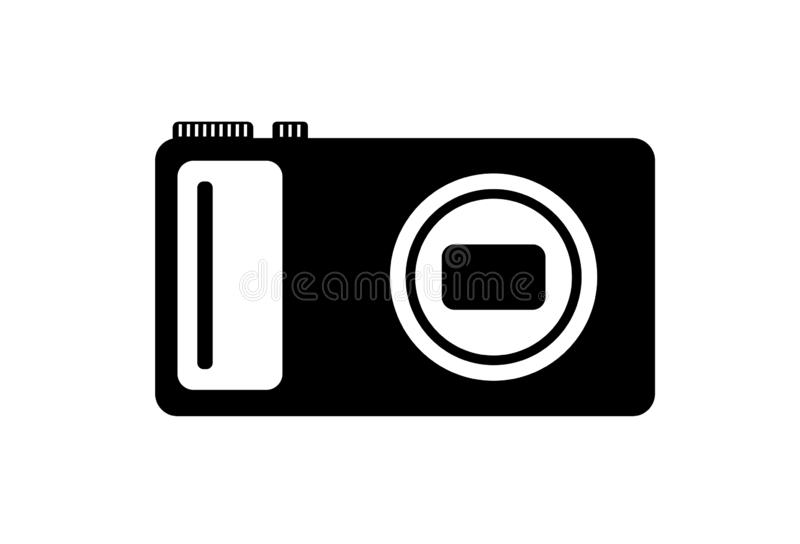 Logo of the digital camera. Black and white logo of the digital camera vector illustration