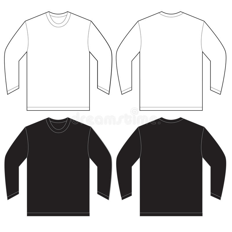 Black White Long Sleeve T-Shirt Design Template Stock