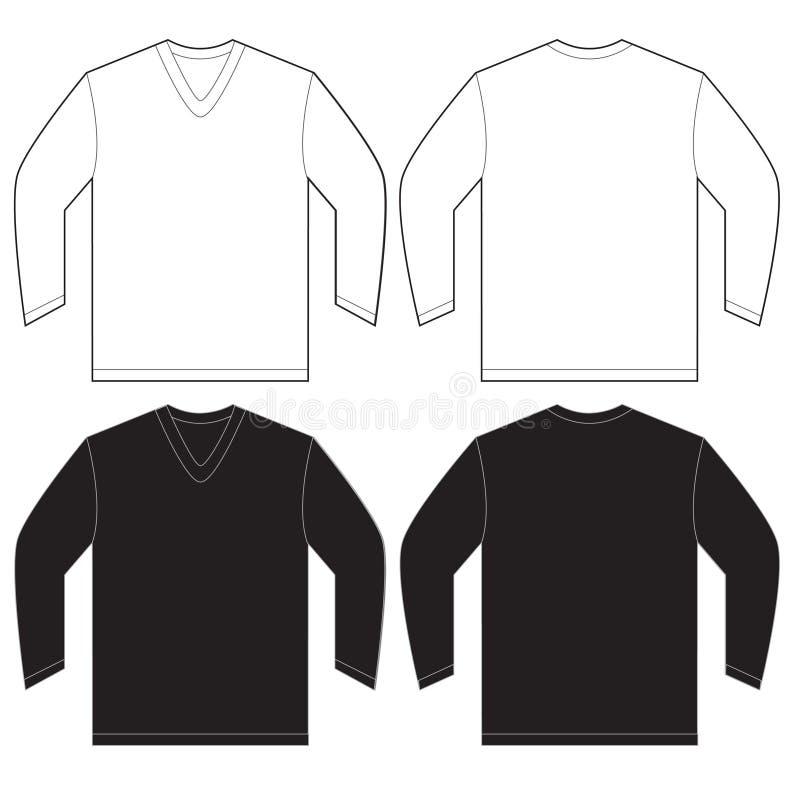 black white long sleeve v neck shirt template stock vector image 63491152. Black Bedroom Furniture Sets. Home Design Ideas