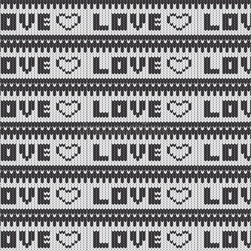 Black And White Love Heart Striped Knitted Pattern Background Stock