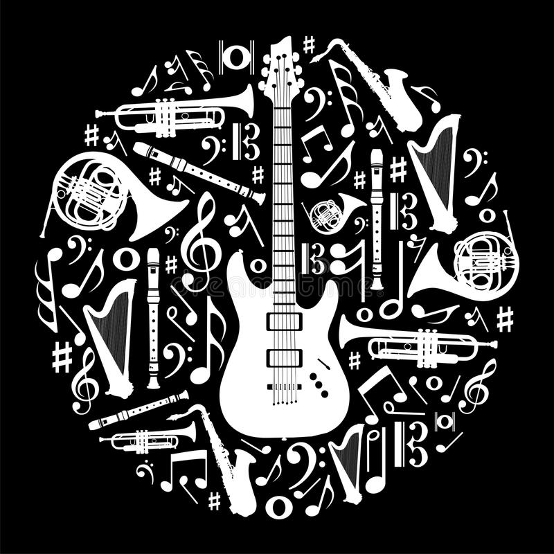 Download Black And White Love For Music Background Stock Vector - Image: 22554682