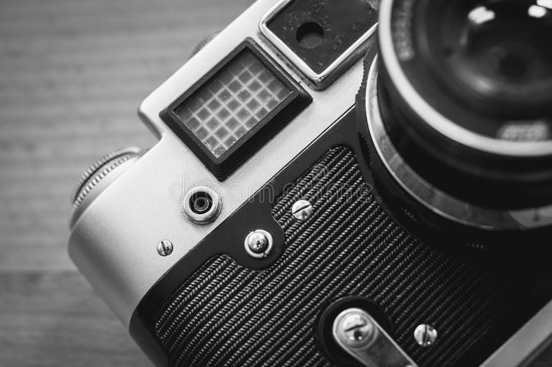 Black and white macro of retro camera viewfinder and lens. Black and white macro photo of retro camera viewfinder and lens royalty free stock photos