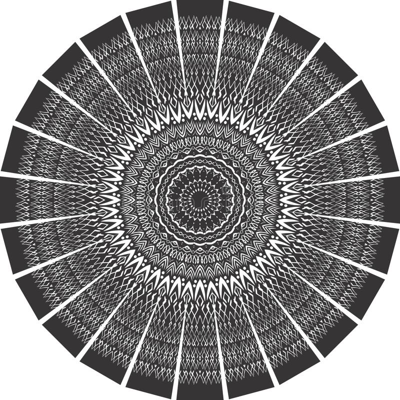 Black and white mandala, abstract vector background and seamless repeat pattern design. stock photos