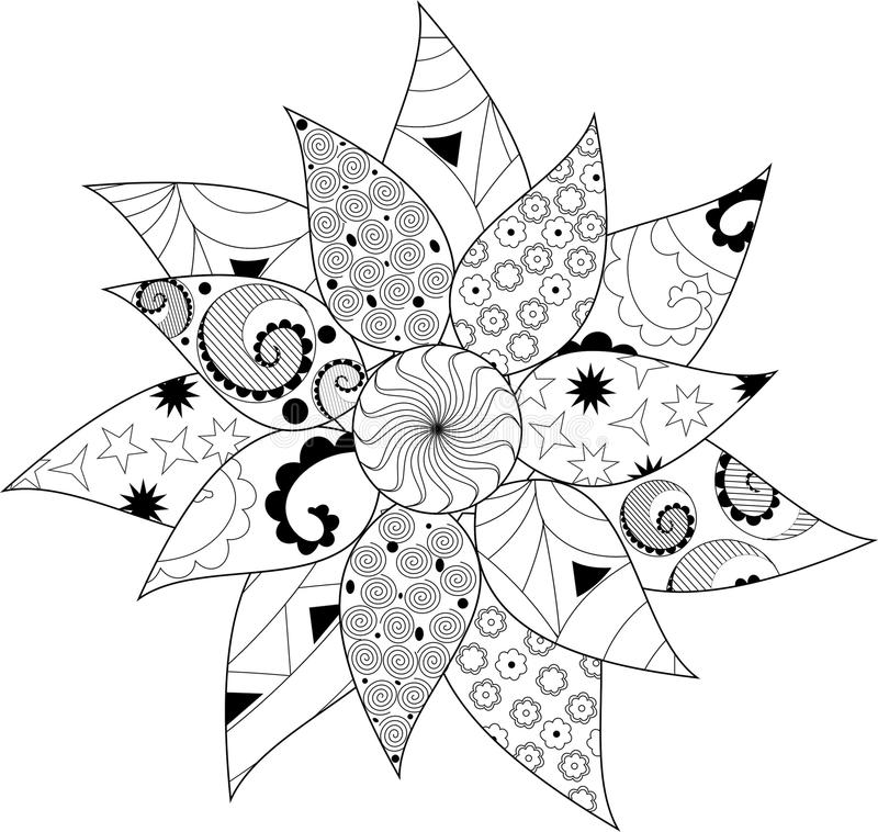 Black and white mandala royalty free illustration