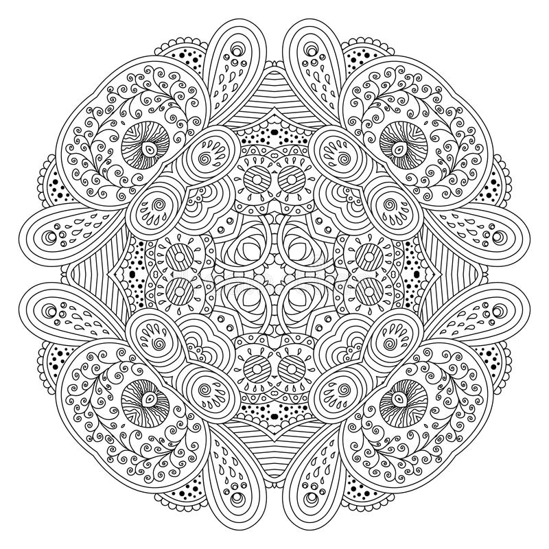 Black and white mandala. royalty free illustration