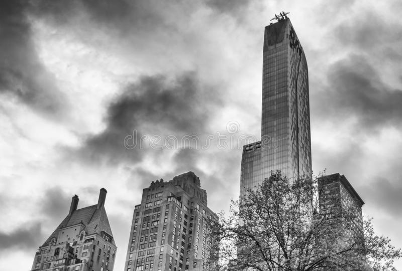 Black and white Manhattan skyline, New York City royalty free stock image
