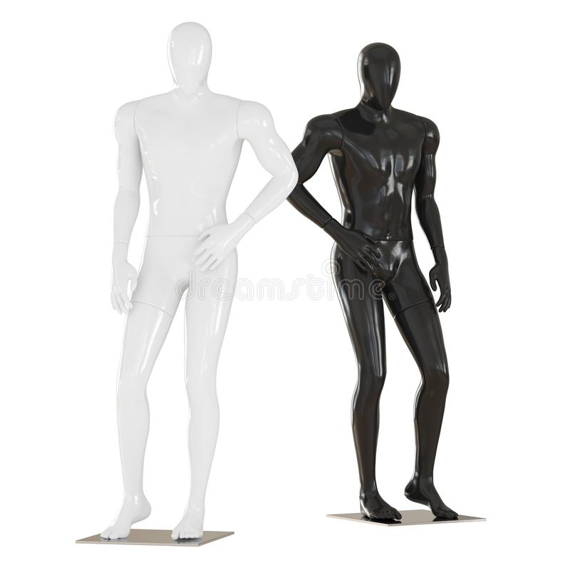 Black and white mannequin stand in pose as a fashion model. 3D rendering on isolated background royalty free illustration