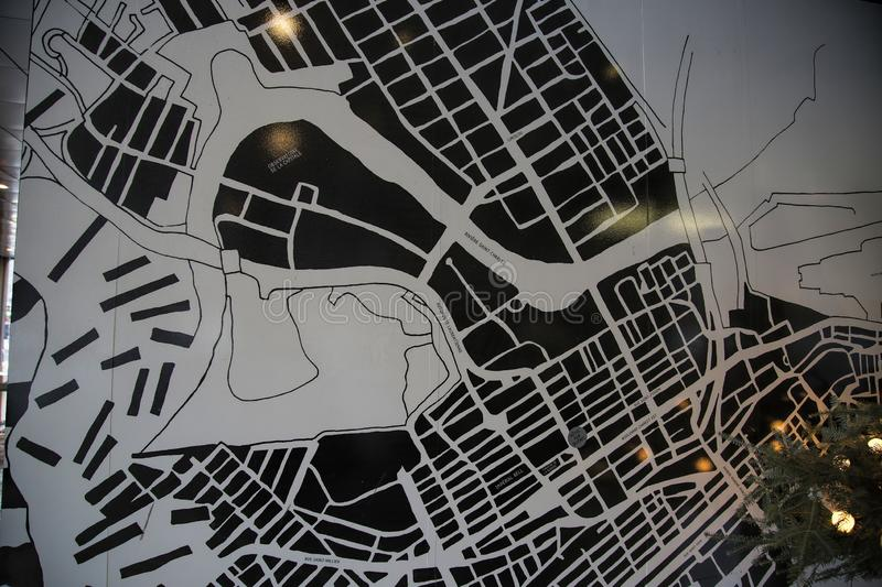 Map of Old City in Quebec, Canada. Black-and-white map of Old Quebec City, Canada, on the wall outside of the Hotel PUR on Couronne Street stock images