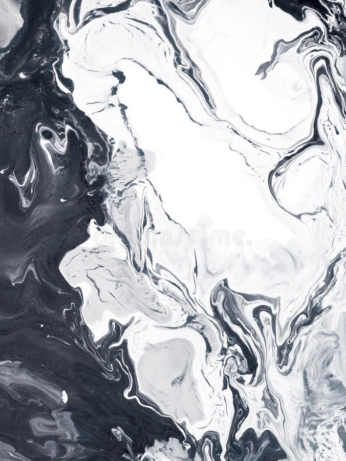 Black and white marble creative abstract hand painted background stock image