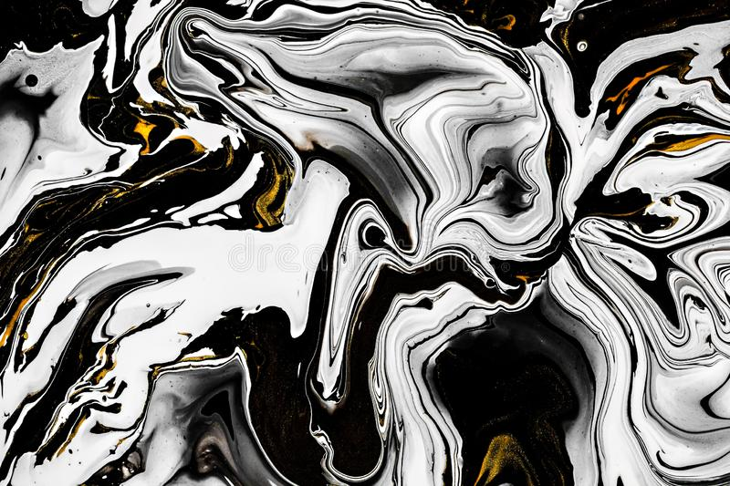 Black, white marble texture with golden lots of bold contrasting veining. Applicable for create surface marbled effect. Design for packaging, brochure, poster vector illustration