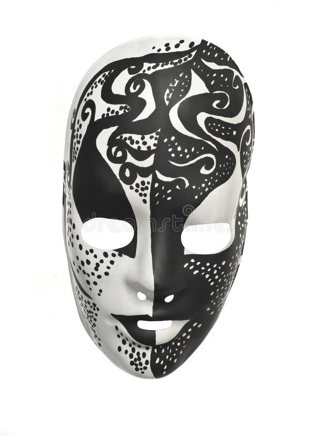 Black and white mask. Black and white party mask on white background royalty free stock photography