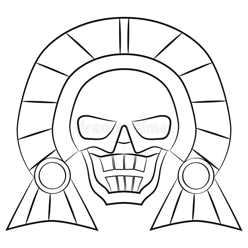 Black and white Mask Aztec ancestors of Mexico on a white background. Skull vector illustration