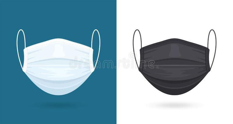 Black and White Medical or Surgical Face Masks. Virus Protection. Breathing Respirator Mask. Healthcare Concept. Vector. Illustration