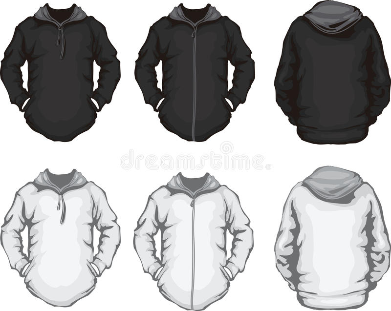 Black white men's hoodie sweatshirt template stock illustration