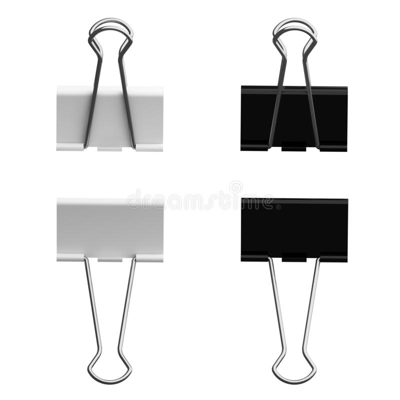 Black and white metal paper binder clip isolated on white background for education or business concept. 3d illustration.  vector illustration
