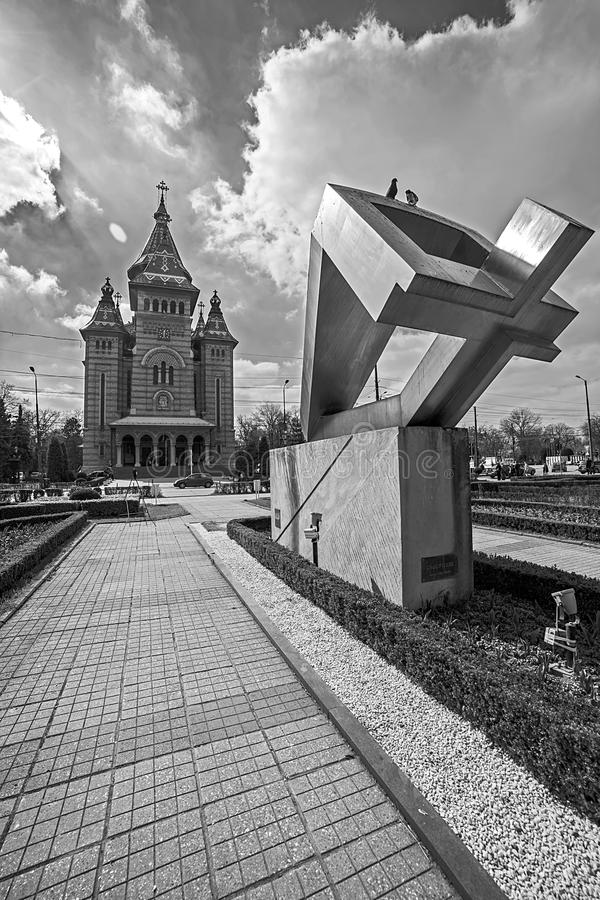 Black and white with the Metropolitan Cathedral and the memorial. Fisheye view, in black and white, with the Metropolitan Cathedral and the memorial monument of royalty free stock photo