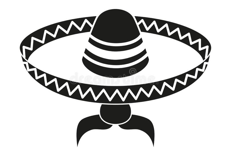 Black and white mexican man avatar silhouette. Fiesta carnival hat and moustache. Mexico theme vector illustration for icon, stamp, label, badge, certificate stock illustration