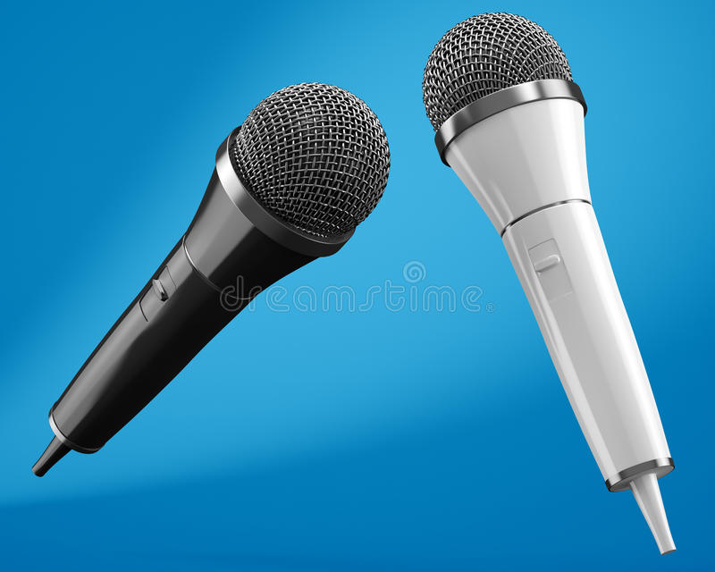 Black and white microphones on blue background stock illustration