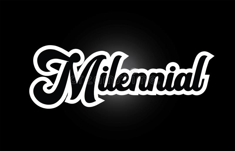 Black and white Milennial hand written word text for typography logo icon design. Milennial hand written word text for typography iocn design in black and white vector illustration