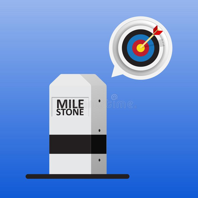 Milestone icon. Black and white milestone and bubble of target symbol vector illustration
