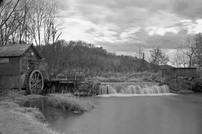 Black and white mill stock image