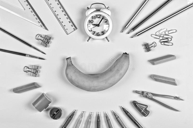 Black and white. minimalism. Back to school concept. school snack, education, school supplies, student, college, flatlay, eating o stock images