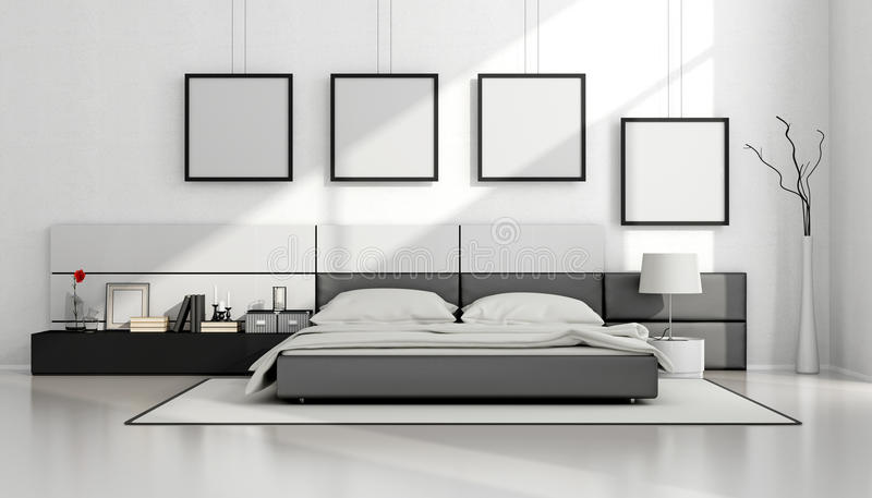 Black And White Minimalist Bedroom Stock Illustration Illustration Of Modern Interior 72589656