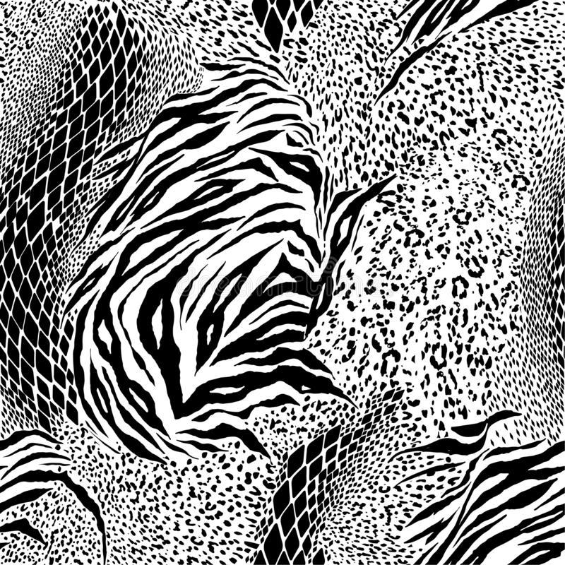 Black and white Mixed animal skin,tiger,zebra,leopard,snake, background. Seamless pattern vector design for fashion fabric royalty free illustration