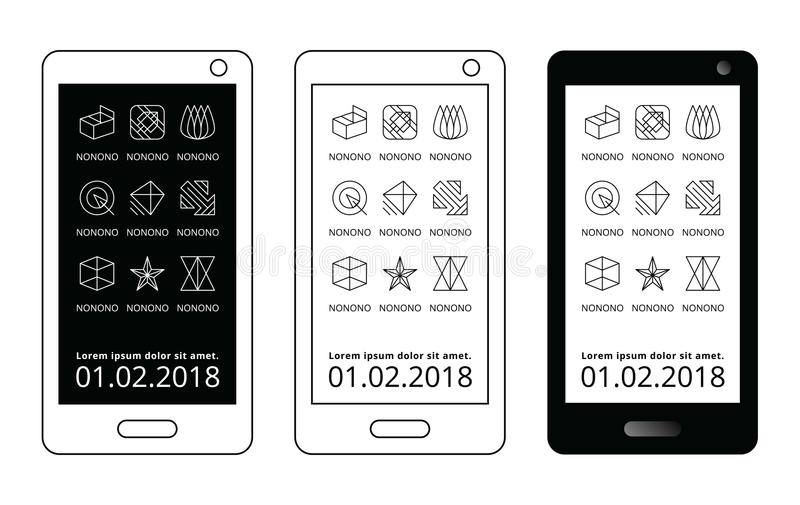 Black and white mobile template. Abstract line icon app geometric interface. Smartphone screen ui ux logo vector display stock illustration